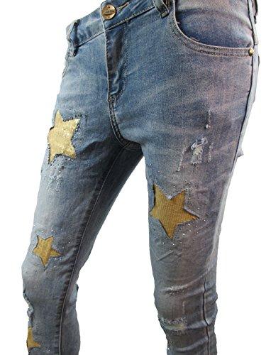 Super Stretch Skinny Damen 3/4 Capri Leggings Jeans Sterne Strass Glitzer Pailletten (weitere Farben) Denim