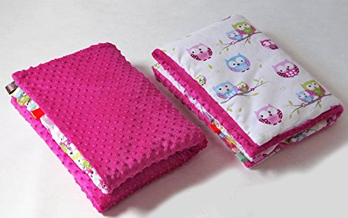 Preisvergleich Produktbild BABYLUX Babydecke Kuscheldecke Krabbeldecke MINKY PLÜSCH Decke 75 x 100 cm (3. Amarant + Eulen)