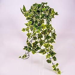 Mata de hiedra decorativa con 330 hojas, verde-blanco, 70 cm - Arbusto sintético / Planta artificial - artplants