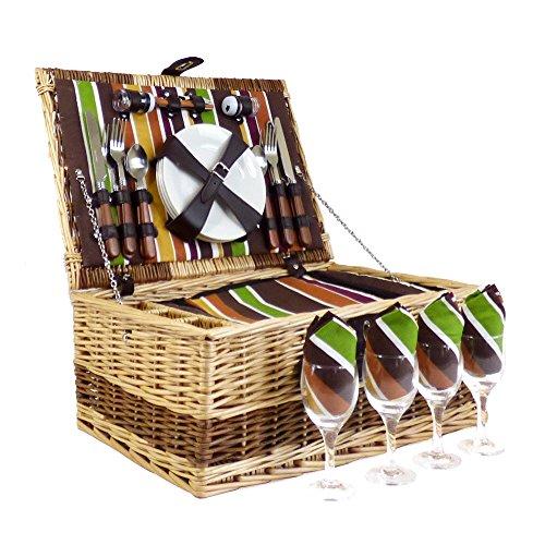 Buckingham 4 personas de mimbre de mimbre Cesta de cesto de picnic con construido en el compartimiento de enfriamiento y accesorios - Ideas de regalos para cumpleaños, bodas, aniversario y empresas