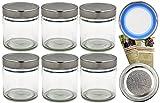 gouveo 12er Set Einmachgläser rund 220 ml inkl. Drehverschluss to 66 Deep Silber BLUESEAL, Vorratsgläser, Marmeladengläser, Einkochgläser, Gewürzgläser, Einweckgläser