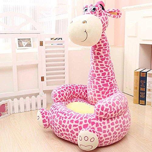 Bakaji divano poltroncina divanetto bambini maxi peluche forma giraffa sedia con seduta imbottita arredo stanzetta cameretta bimbi, poltrona soffice alta qualità rosa