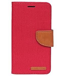 Aart Fancy Wallet Dairy Jeans Flip Case Cover for Apple4G (Red) By Aart Store