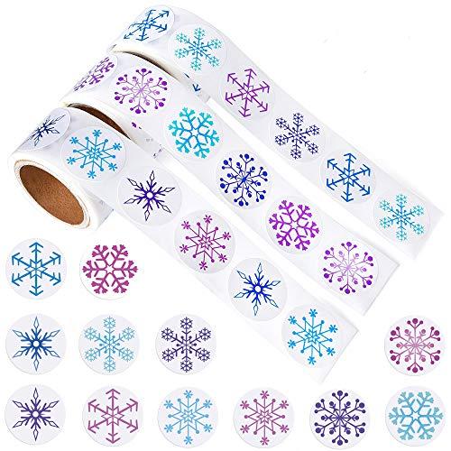 Kuuqa 450 Stück Schneeflocke Aufkleber Weihnachten Aufkleber für Weihnachtsdekor Bastelbedarf, 3 Rollen -
