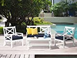 Beliani Gartenmöbel Set Holz Weiss 4-Sitzer Auflagen blau Baltic