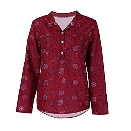 DEELIN Damen Tops Sommer Plus das Ausmaß Chiffon Blumendruck Langarm Bluse Pullover Tops Shirt (S, X-Wein)