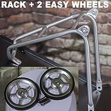 ACE - Mini estante trasero + 2 ruedas para BROMPTON color plateado