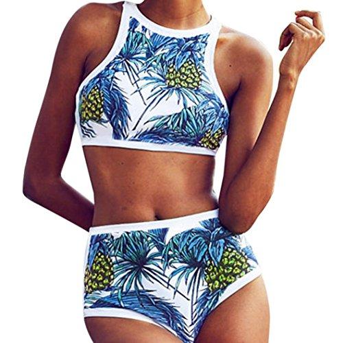 Fuibo Bikini, Frauen Girls Bikini Set Ananas Palmen gepolstert sexy Strand Tank Suit Bademode | Badeanzug Bademode Swimwear Swimsuits (M, Blau) (Gehäkelte Ananas)