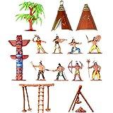 Musykrafties Indianer-Figuren aus Kunststoff, Spielzeug-Figuren für Sandkasten, Miniatur-Aquarium, Terrarium, Feengarten, Puppenhaus, als Kuchenaufsatz,...