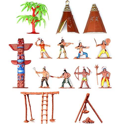 Musykrafties Indianer-Figuren aus Kunststoff, Spielzeug-Figuren für Sandkasten, Miniatur-Aquarium, Terrarium, Feengarten, Puppenhaus, als Kuchenaufsatz, 13-teiliges Set