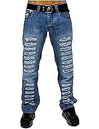 Mens slim fit skinny g jeans Blue Stripe urban hip hop denim rock star pants