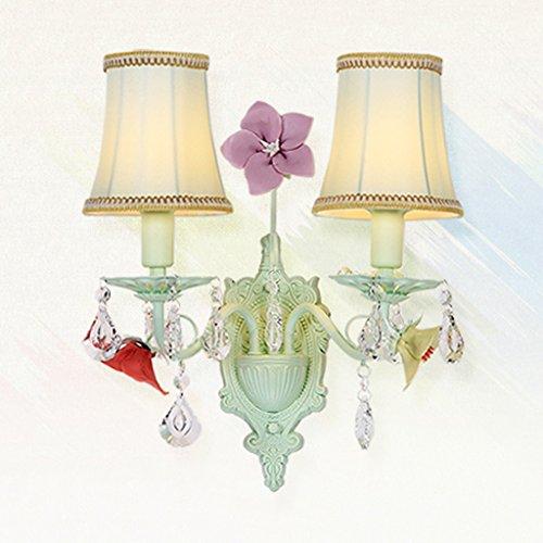 Pastoral Eisen Tuch Abdeckung Wand Lampe Wohnzimmer Bett Schlafzimmer Schlafzimmer Zimmer Lampe (größe : Double head) - Wand-lampen-schnur-abdeckungen
