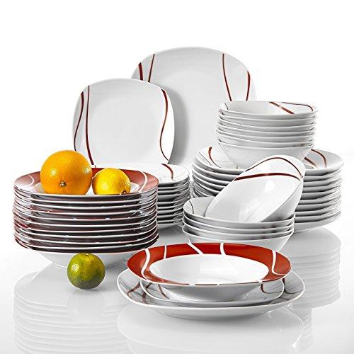 Malacasa, serie felisa, servizio da tavola in porcellana piatti servizio set 48 pezzi con 12 piatti, 12 piatti da dessert, 12 piatti fondi e 12 ciotola per cereali per 12 persone