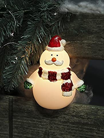 Magical Real Wax LED Candle Christmas Snowman Wearing Scarf-Battery-Powered-Height: 15 CM / width: 13 CM-For indoor Use-New-CREATES magical atmosphere Kamaca-Shop Christmas Winter / Christmas Advent by Kamaca