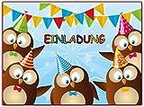 Kartenuniversum Eulen Kindergeburtstag Einladung Geburtstag Kinder Einladungskarten Set Eule Jungen Mädchen 12 Stück