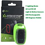 Intelligent USB Rechargeable Bike Tail Flashing LED Light with Motion & Light Sensor 50 Lumens 7 Lighting Mode Nice for BMX/Mountain/Cruiser/Children Bike/Road Bicycle and Scooter (Green)