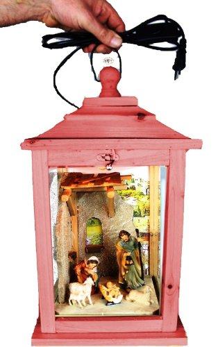 XL Weihnachtskrippe, mit Figuren, Laterne Holz, als Glasvitrine mit Beleuchtung, mit Glas und Holz - Rahmen, KL-MFOS-ROT aus Holz amazon rot rötlich lasiert / eingelassen