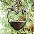 garden mile® Vintage Style Decorative Cast Iron Love Heart Hanging Bird Feeder Bird Bath, Bronze feeding station bird table seed feeder Hanging Garden Ornament from Garden mile®