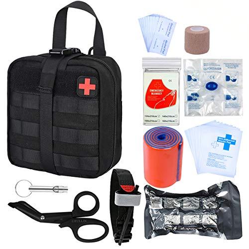 GRULLIN Survival Erste-Hilfe-Sets 39 Stück Tragbare israelische Bandage Tourniquet Splint Rolle EMT-Schere Survival Bag, praktische professionelle Erste-Hilfe-Sets für Outdoor, Raum, Auto(Black) - Tourniquet Erste Hilfe