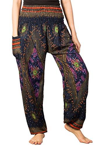 Kostüm Frauen Indien - Lofbaz Damen Haremshose mit gesmoktem Bund Blumenmuster Dunkelblau M