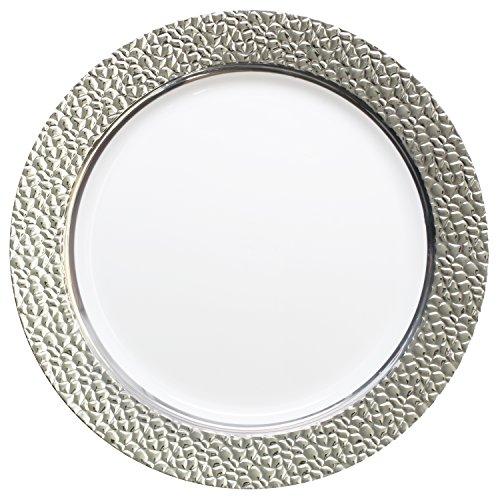 Decorline-Hammerschlageffekt - Weiß mit Silber -Elegant Stabile Kunststoff Einweggeschirr (Teller 26cm)