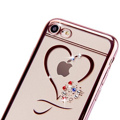 iPhone 7 Hülle,iPhone 7 Silikon Hülle Tasche Handyhülle,SainCat Flamingos Muster Ultra dünne Silikon Hülle Schutzhülle Durchsichtig Hadytasche Stoßfeste TPU Gel Case Bumper Weiche Crystal Kirstall Sil Rose Gold-Love