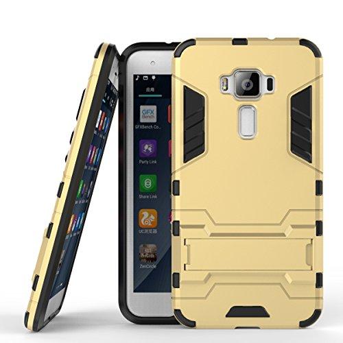 Wkae Case Cover 2 in 1 Nuovo Armour stile duro Hybrid Dual Layer Casi armatura Defender PC fissi con supporto antiurto caso per ASUS ZE520KL ( Color : Red , Size : ASUS ZE520KL ) Gold