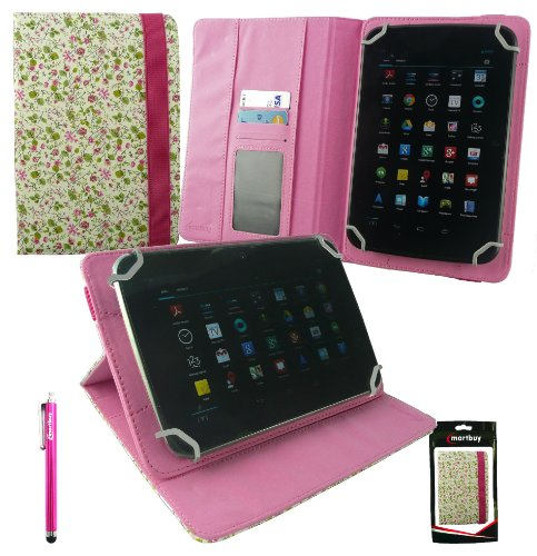 Emartbuy® Dragon Touch E70 / E71 7 Inch Phablet Tablet PC Universal Range Floral Pink/Green Multi Angle Executive Folio Wallet Case Cover With Card Slots + Hot Pink Stylus