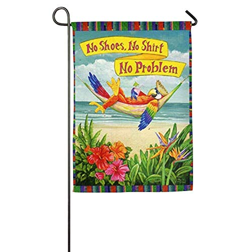 HujuTM Garden Flag Yard Decorations - No Shoes, No Shirt, No Problem Flag for Outdoor Use,100% Waterproof Polyester Flags - Sleeve Flag Shirt