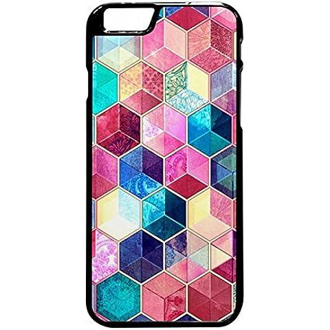 Topaz Ruby Crystal Honeycomb Cubes Case / Color Black Plastic / Device iPhone 6 Plus/6s Plus