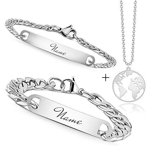 Armband mit Gravur | Personalisierbares Partnerarmband mit Gravur | Hochwertiges Pärchenarmband in Silber | Persönliche Namensgravur | Ideal als Armband für Paare oder Freundschaftsarmband