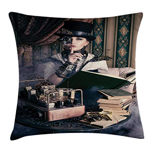 EJjheadband Gothic Throw Pillow Cushion Cover by, Portrait of Steampunk Woman with Medieval Vintage Outfit Historic Fashion Art Photo, Decorative Square Accent Pillow Case, 18 X18 Inches, Brown Teal