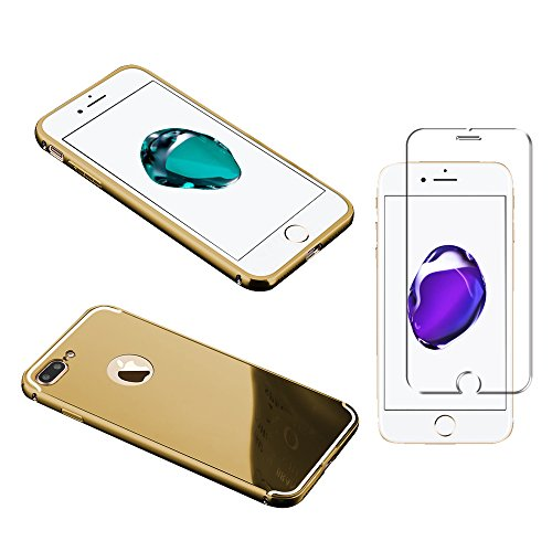 Minto Luxus Aluminium Metall Spiegelhülle Schutzhülle + Panzerglasfolie iPhone 5 / 5S / SE Spiegel PC Rückseite Case Cover Hülle Gold + Metall Bumper Rahmen Echtglas Hartglas Schutzfolie 9H Gold -i8+