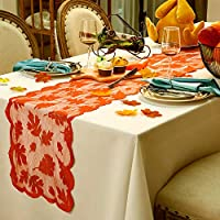 Boao Maple Leaf Lace Table Runner for Thanksgiving, Harvest Dinner Decoration, Dinner Parties, Seasonal Decoration(Maple Leaves Table Runner)
