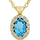 Ryan Jonathan Blue Topaz and Diamond Pendant w/18 Inch Chain in 14K Yellow Gold