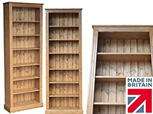 "Solid Pine Bookcase, 7ft x 30"" Handcrafted & Waxed Adjustable Display Storage Shelving Unit, Bookshelves. Choice of Colours. No flat packs, No assembly (BK730)"