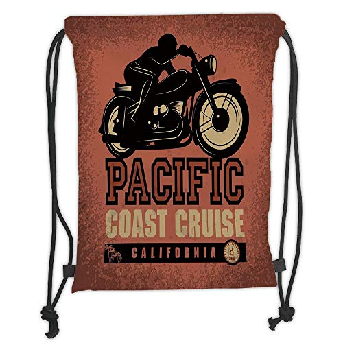 WTZYXS Drawstring Sack Backpacks Bags,Adventure,Pacific Coast Cruise California Motorcycle Driving Journey Traveling Hand Drawn Decorative,Ruby Black Soft Satinr,5 Liter Capacity.