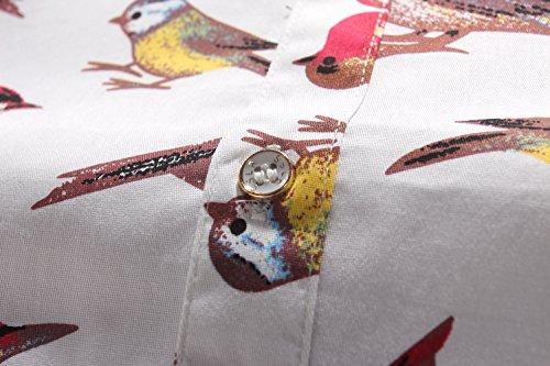 SSLR Uomo Camicie in Manica corta Button Down Casual Stile Stampa Animalier Bianco