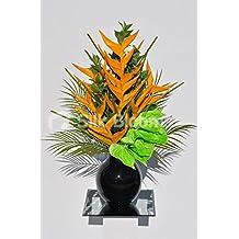 Artificial Tropical naranja Heliconia y verde flores de Anthurium mesa arreglo