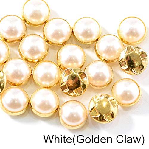 Penveat 100 pezzi perline colorate pearl cucitura per cucire strass con argento/oro artiglio natator mezzotondo perla per vasi abbigliamento b3120, oro bianco claw, 10 millimetri - 100pcs