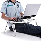 E-mesa de mesa para ordenador portátil plegable para PC y portátiles de y soporte para lápiz táctil integrado soporte para bebidas suministra con 2 ventiladores de alimentación por USB alfombrilla de ratón con punta-para correr superficie de trabajo inclinable y altura-pies ajustables