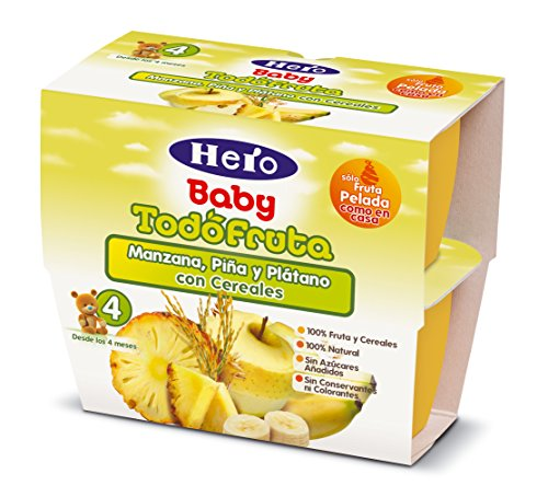 Hero Baby - Todofruta Manzana Piña Platano con cereales 400 gr - Pack de 6 (Total 2400 gr)