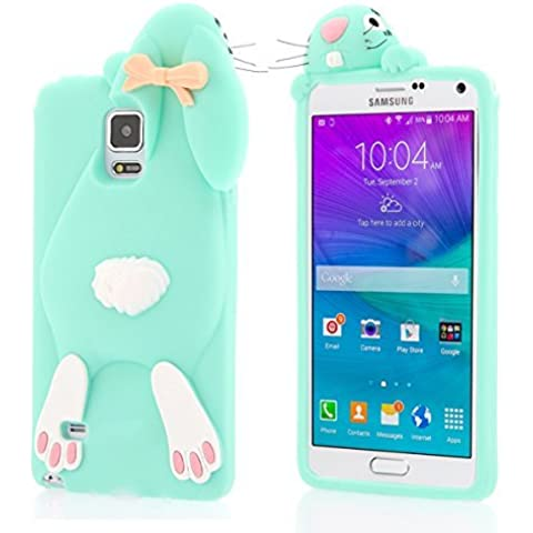Moonmini custodia per Samsung Galaxy Note N9100, 3D Bella Buck denti del coniglio di coniglietto caso molle della copertura del silicone protettiva Shell per Samsung Galaxy Note N9100 4 - Mint Green