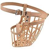 SRI High Quality Plastic Dogs Muzzle Basket Design Anti-Biting Adjusting Straps Mask For Dog/Puppy, Beige (Small)