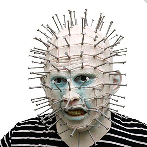 Hellraiser Pinhead Kostüm (Hellraiser Pinhead Maske mit Plastik Nägeln sehr realistisch mask aus sehr hochwertigen Latex Material mit Öffnungen an Augen Halloween Karneval Fasching Kostüm Verkleidung für Erwachsene Männer und Frauen Damen Herren)