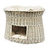 GalaDis 2-22W-1 Große weiße Katzenhöhle XXL (75 x 55 x 53 cm) aus Weide mit Zwei Kissen/Katzenkorb / Katzenbett für Eine oder Zwei Katzen/Katzenturm auch f. Maine Coon & Co.