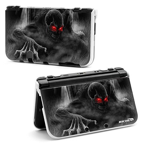RICHEN Plastic Hard Skin Case Cover Protector Shell for New Nintendo 3DS XL LL(Black Skull) by Richen Black Skull Hard Case