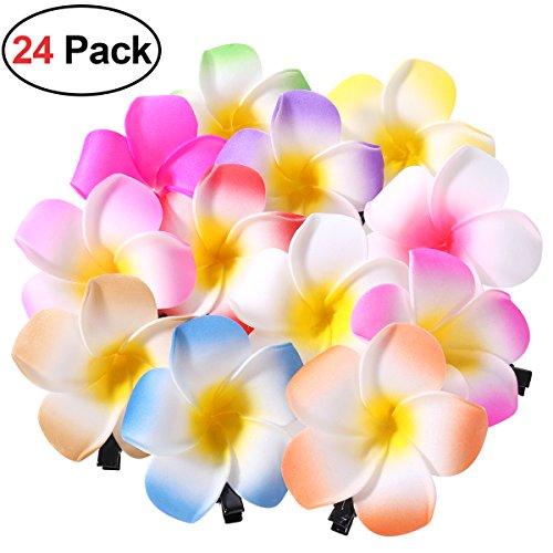 Frcolor 24 Stücke 2,4 Zoll Hawaiian Plumeria Blume Haarspange, Blumen Haarklammern Haarschmuck für Beach Party Hochzeit Dekoration (12 Farben) (Hawaii-dekorationen Für Partys)
