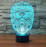Blbling 3D Motorrad Helm Maske Led Nachtlichter Usb Tischlampe 7 Farben Ändern Schlaf Beleuchtung Wohnkultur Leuchte Geschenk