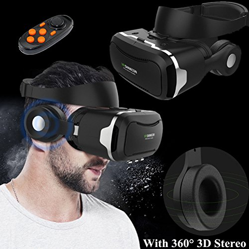Bevifi - 3D-VR-Headset mit wiederaufladbarer Fernbedienung und integrierten Bluetooth-3D-Kopfhörern, für 4,5-6,0